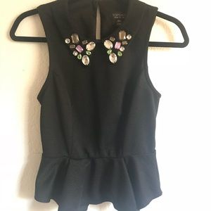 Topshop Peplum Blouse with Collar